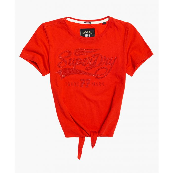 Image for Deluxe 77 red cotton knot front T-shirt