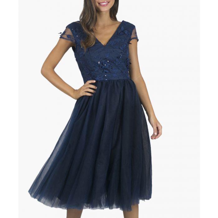 Image for Cosette navy sheer detail v-neck dress