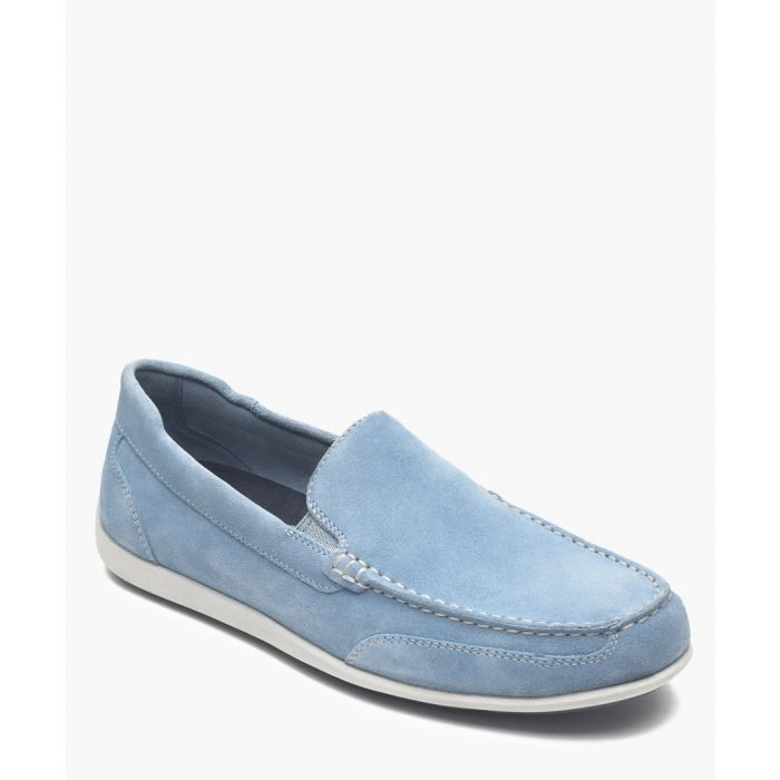 Image for Powder blue suede flat slip-ons