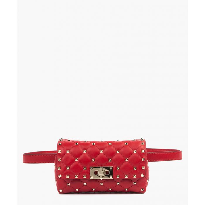 Image for Spike red leather rockstud belt bag