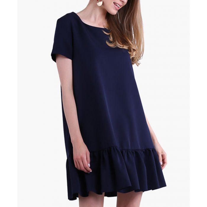 Image for Navy woven dress