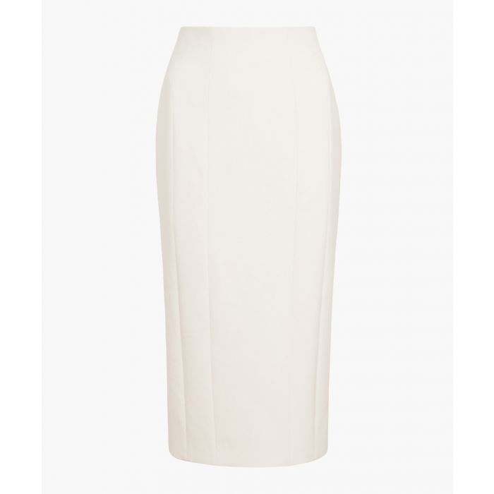 Image for Cream cotton blend midi pencil skirt