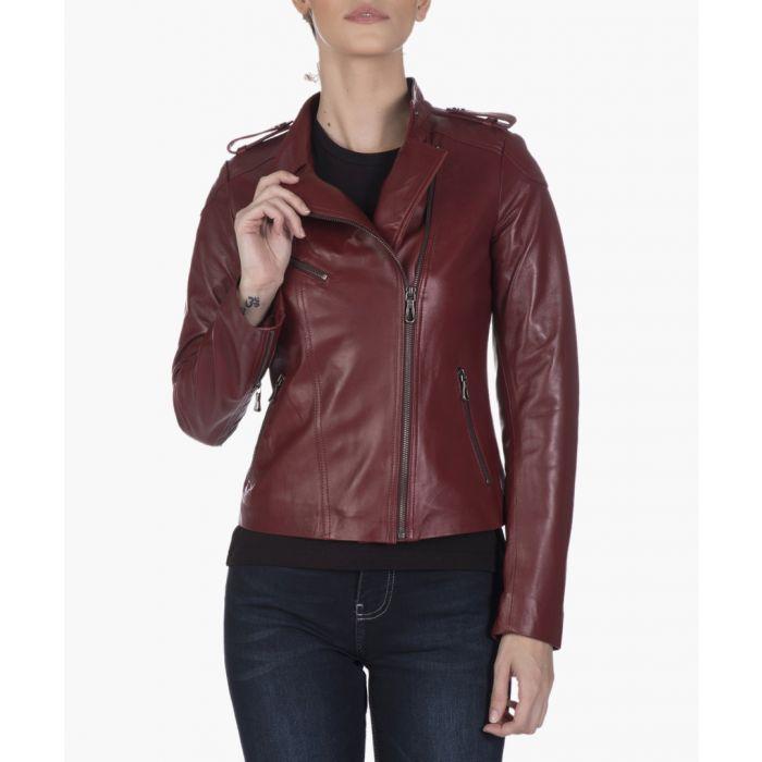 Image for Bordeaux leather biker jacket