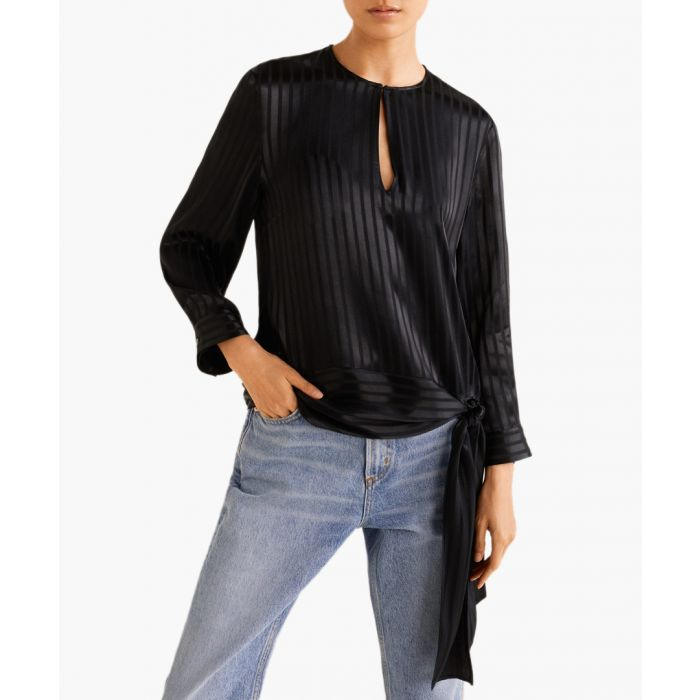 Image for Black satin striped blouse