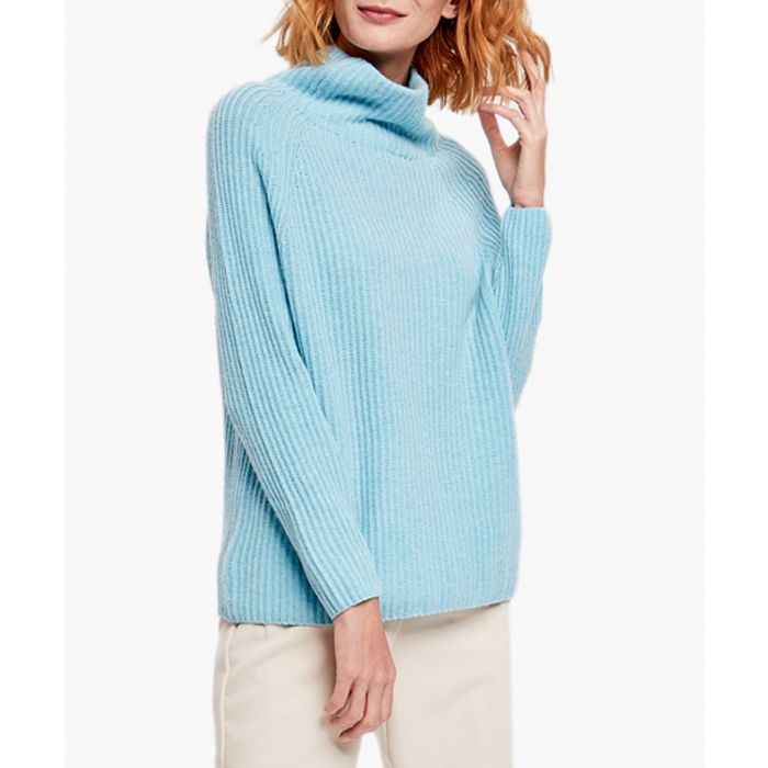 Image for Blue merino wool and cashmere blend jumper