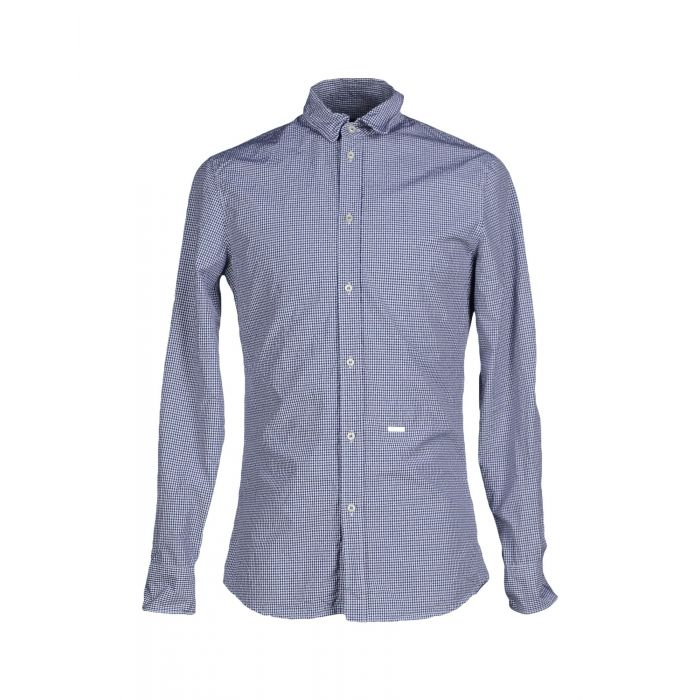 Image for Dark blue check print cotton shirt