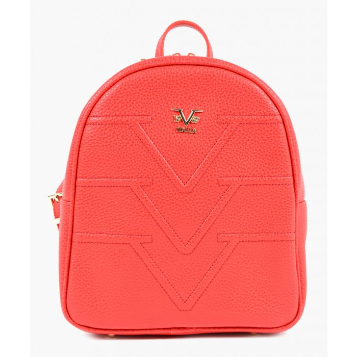 Image for Red faux leather emblem backpack