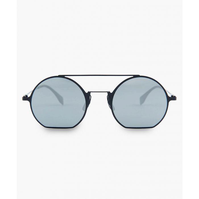 Image for Black and silver-tone mirror sunglasses