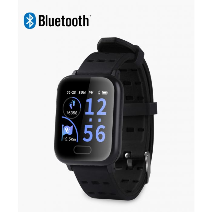 Image for Black heart rate monitor connected sport smartwatch