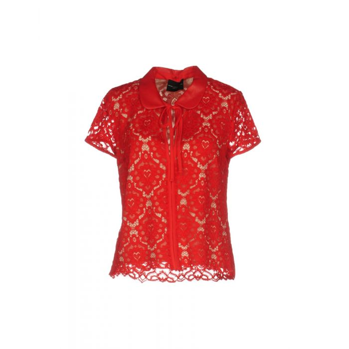 Image for Red floral lace shortsleeved blouse