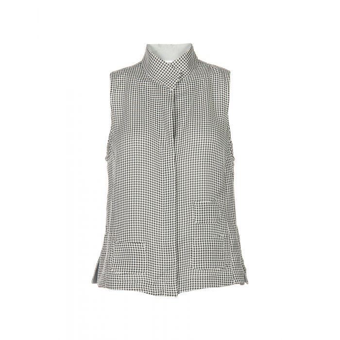 Image for Black and white sleeveless houndstooth blouse