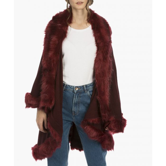 Image for Dark red knitted luxury faux fur cape