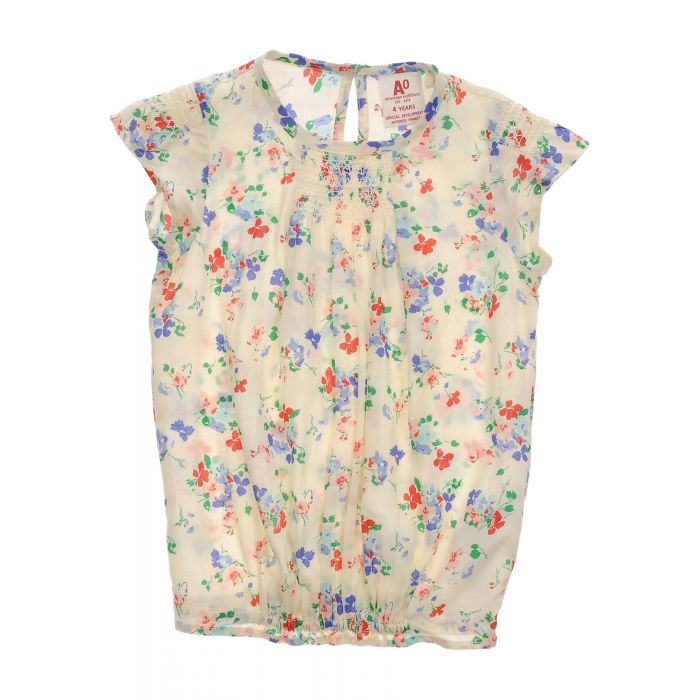 Image for Light yellow floral print sleeveless blouse