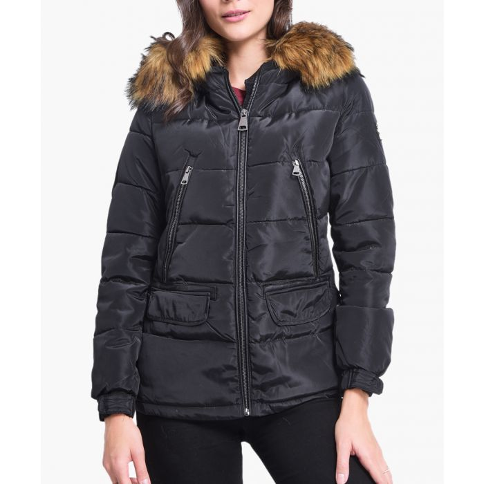 Image for Black faux fur hood quilted shell jacket