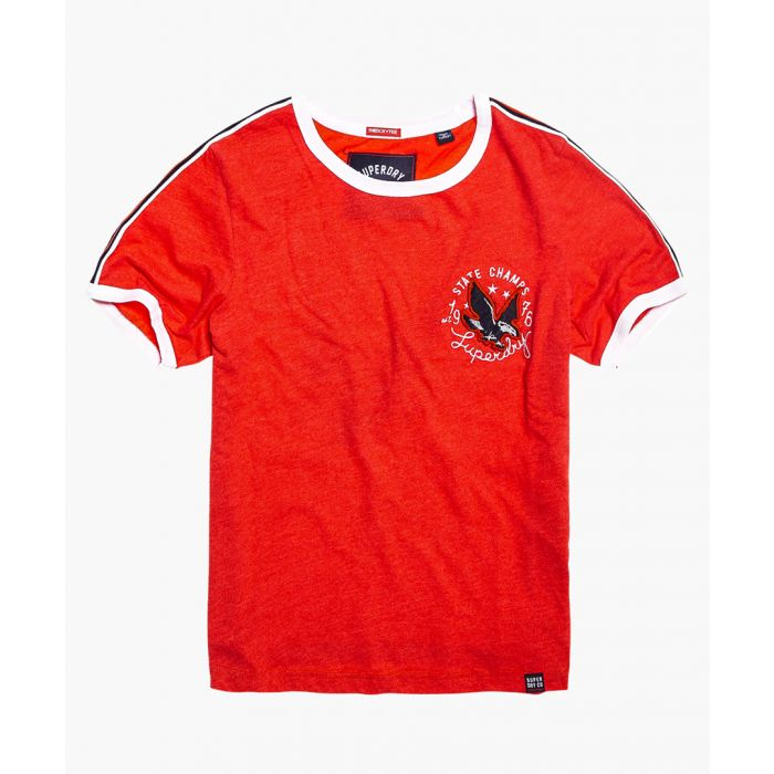 Image for Eagle Champs embroidery ringer red cotton blend boxy T-shirt