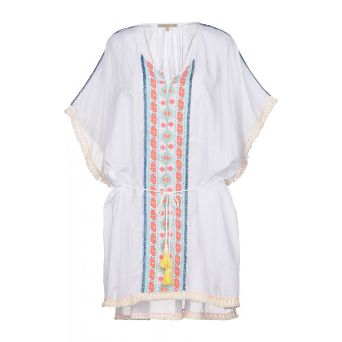 Image for White wool and cotton blend kaftan