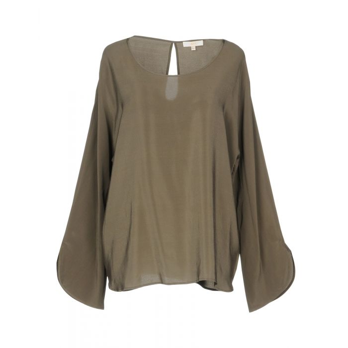 Image for Military green pure silk long sleeved blouse
