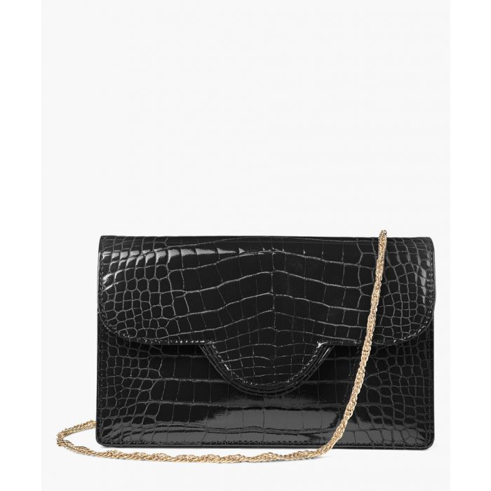 Image for Black patent moc-croc crossbody bag