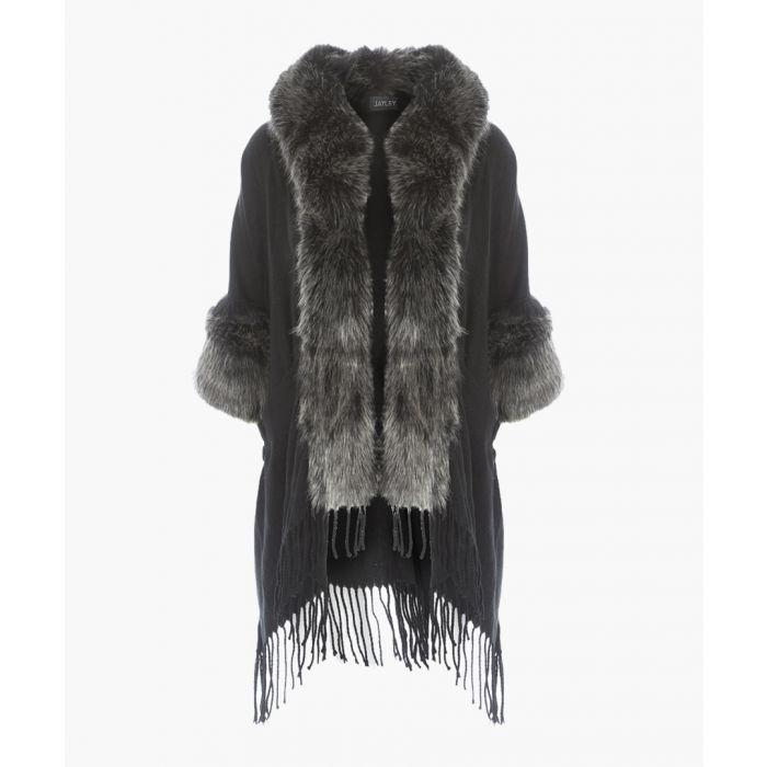Image for Grey cashmere blend fringed cape