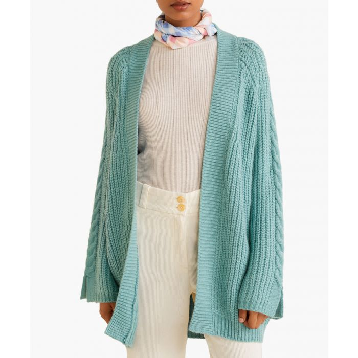 Image for Aqua green chunky knit cardigan