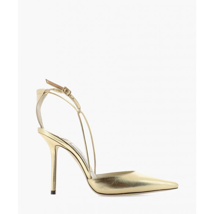 Image for Leta 100 gold-tone leather pumps