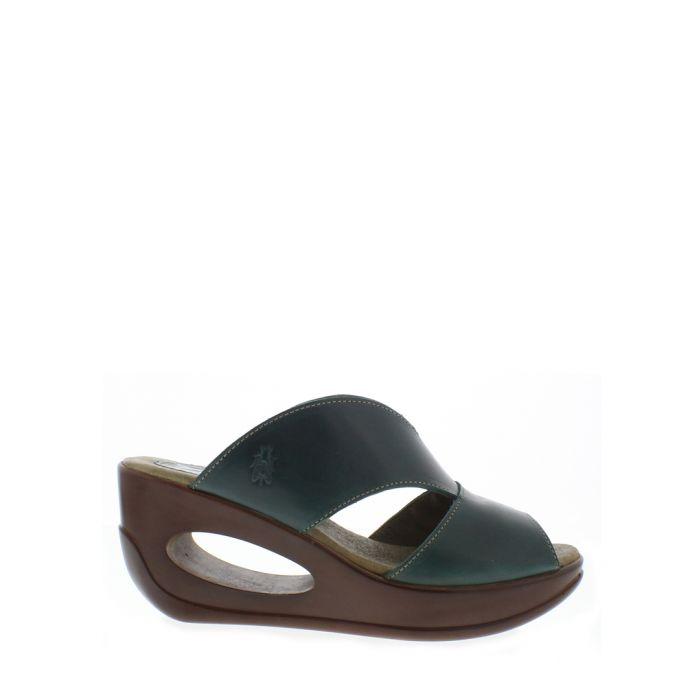 Image for Petrol leather mule wedges