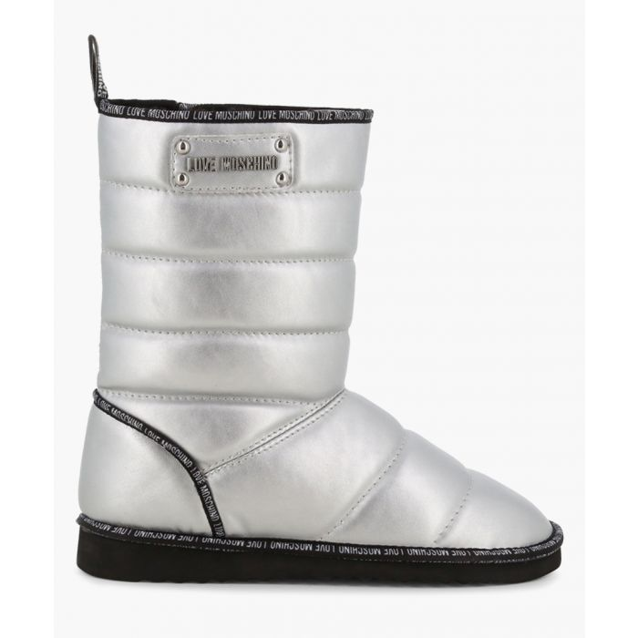 Image for Silver logo puffer faux-leather boots
