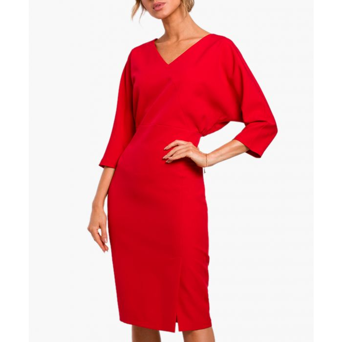 Image for Red V-neck fitted midi dress