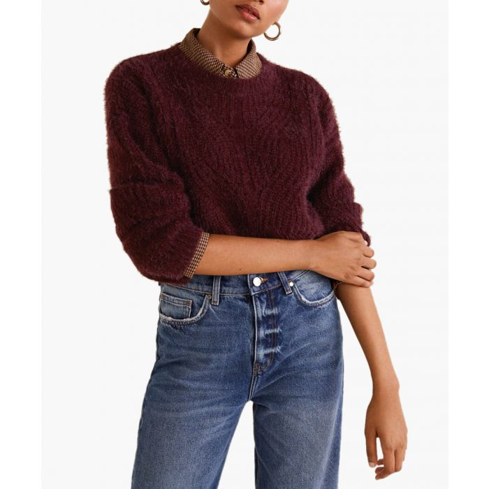 Image for Maroon openwork cable-knit sweater