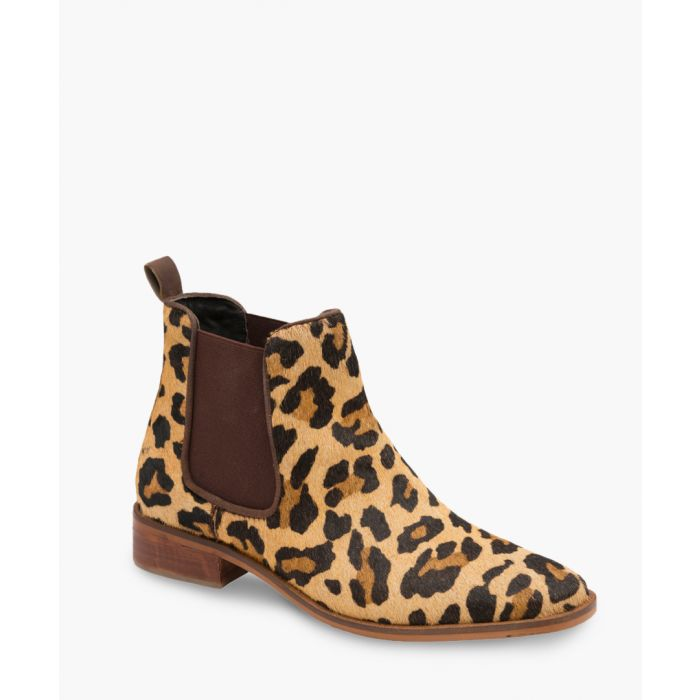Image for Leopard print leather ankle boots