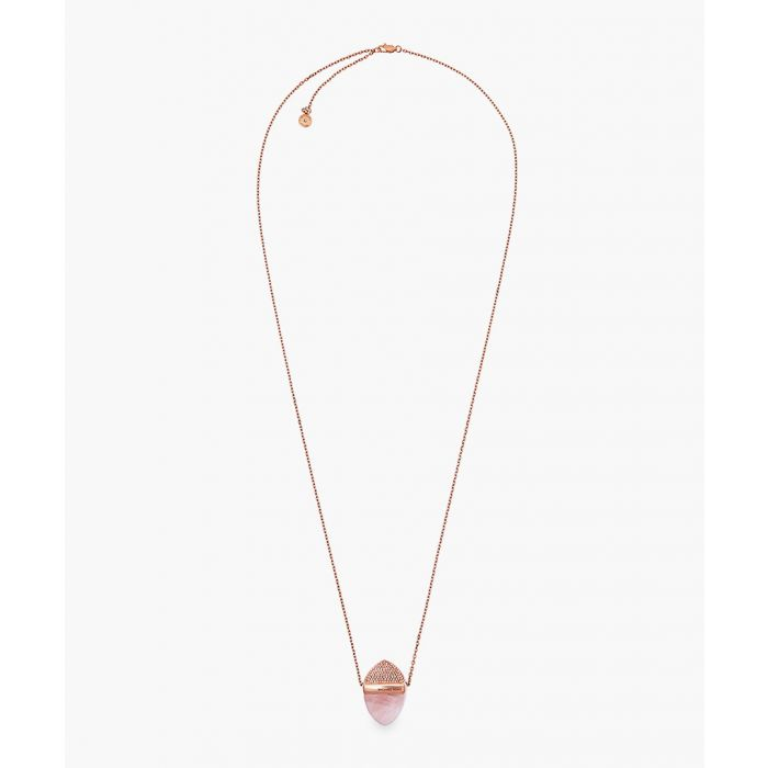 Image for Rose gold-plated stainless steel and cubic zircona pendant