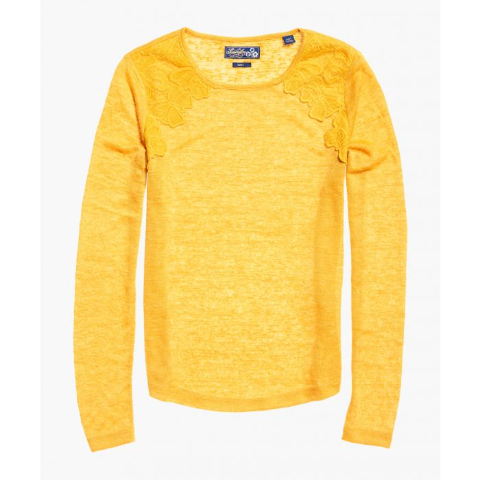 Image for Seanna mustard yellow lace top
