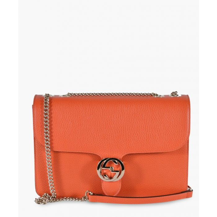 Image for Orange leather interlocking GG shoulder bag