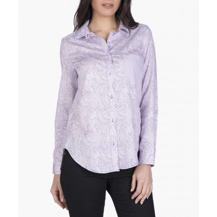 Image for White and purple cotton-blend shirt