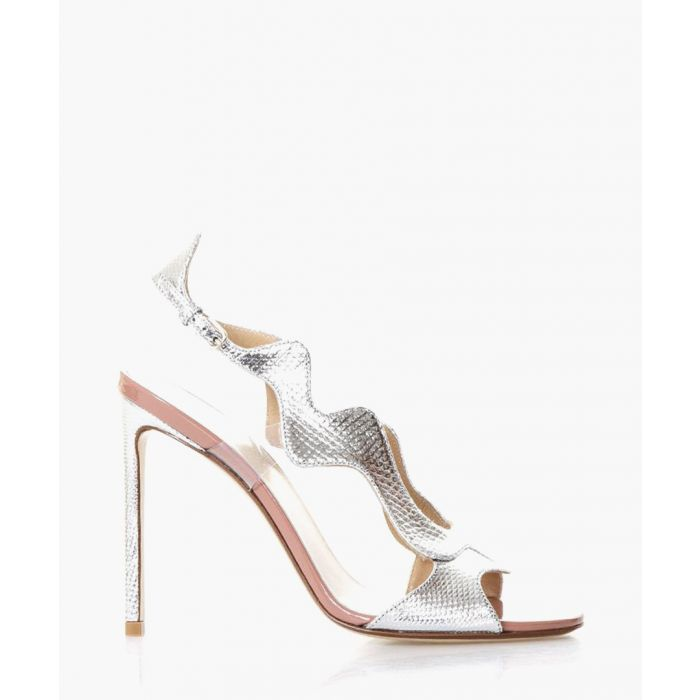 Image for Silver-tone leather wave heeled sandals