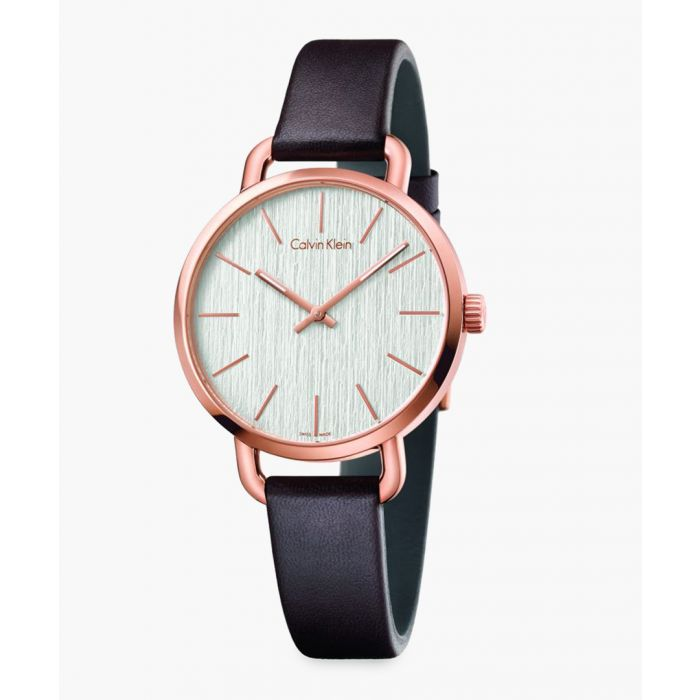 Image for Rose gold-plated and black leather watch