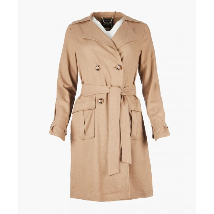 Image for Mocha linen trench coat