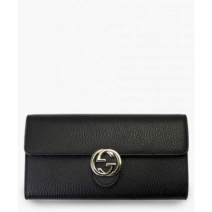 Image for Black leather interlocking wallet