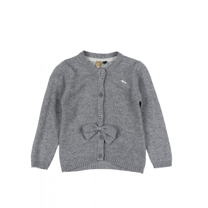 Image for Light grey wool bow cardigan