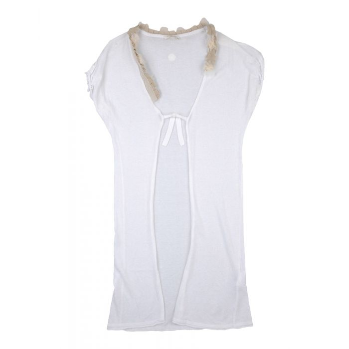 Image for White knit short sleeved cardigan