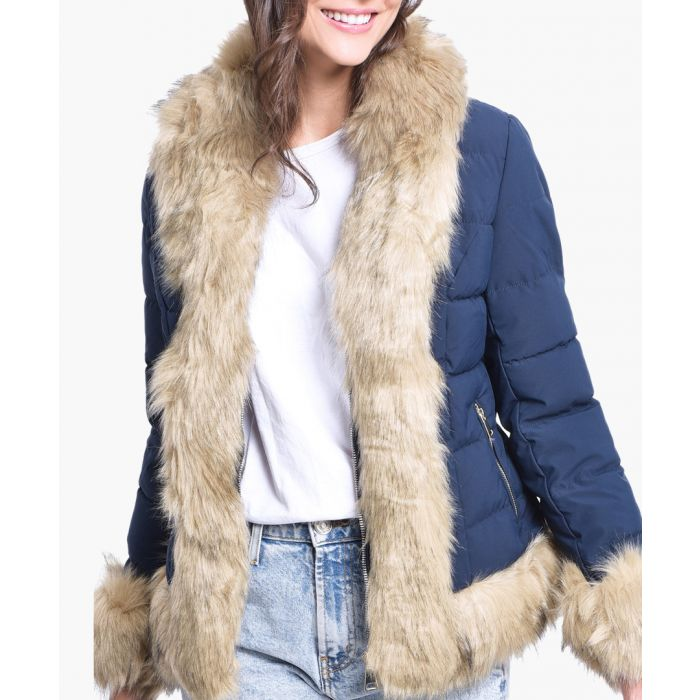 Image for Blue quilted shell and faux fur scarf puffer jacket