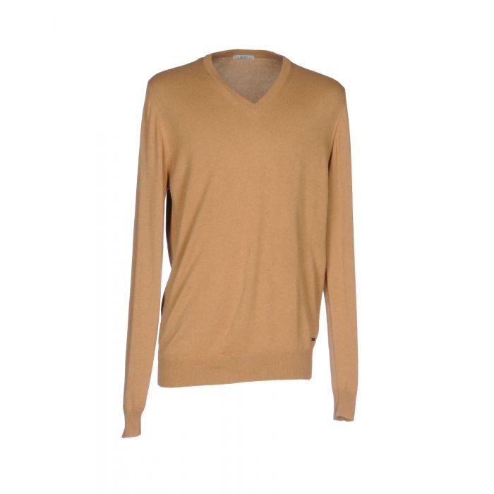 Image for Camel hemp blend V-neck knitted jumper