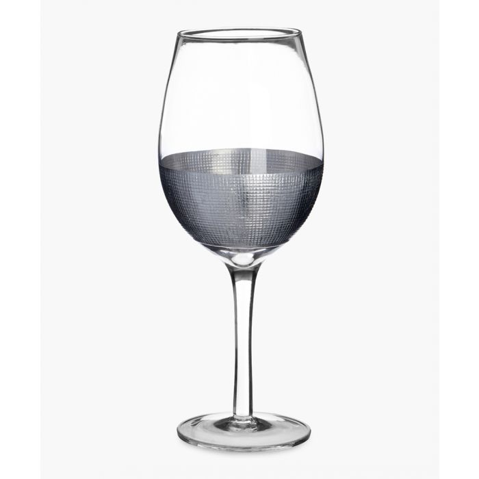 Image for 4pc Apollo silver-tone crosshatched large wine glasses