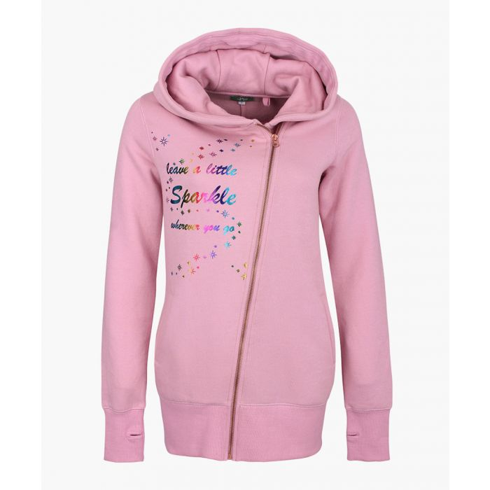 Image for Pink cotton blend zip-up hoodie