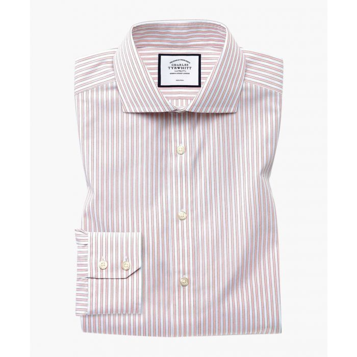 Image for Pink pure cotton slim fit shadow striped shirt