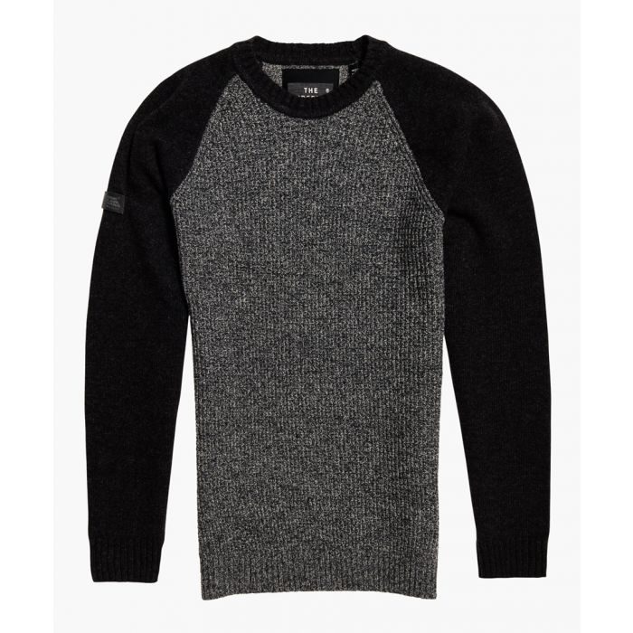 Image for Arno black pure wool baseball crewneck top