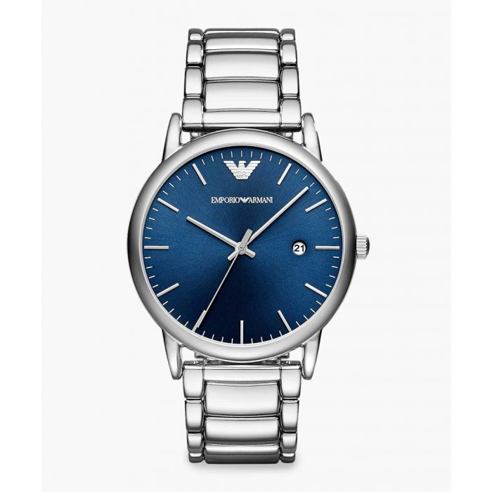 Image for Silver-tone and blue dial watch