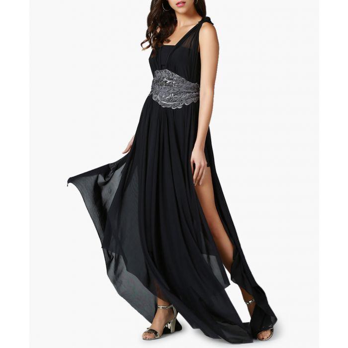 Image for Black sleeveless thigh-slit maxi dress