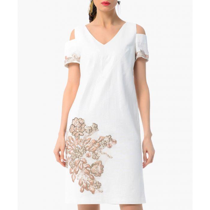 Image for white cotton & linen cold-shoulder dress