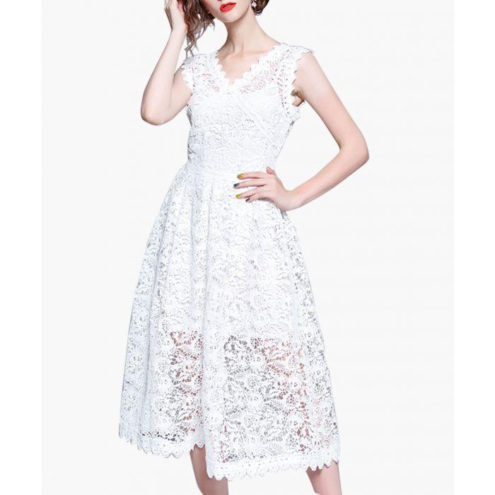 Image for White sleeveless lace midi dress
